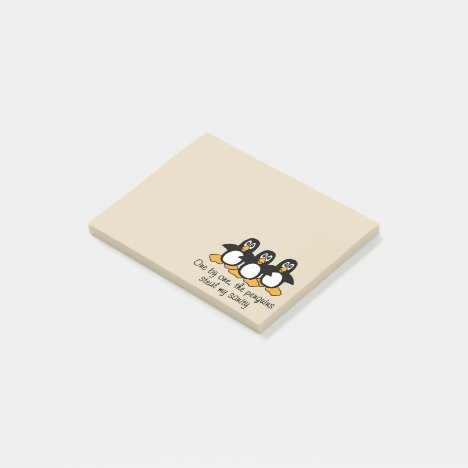 One by One The Penguins Funny Saying Design Brown Post-it Notes