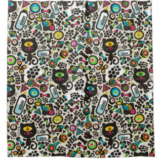 One Eyed Black Cat Shower Curtain