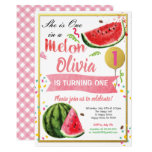One in a melon first birthday invitation pink gold