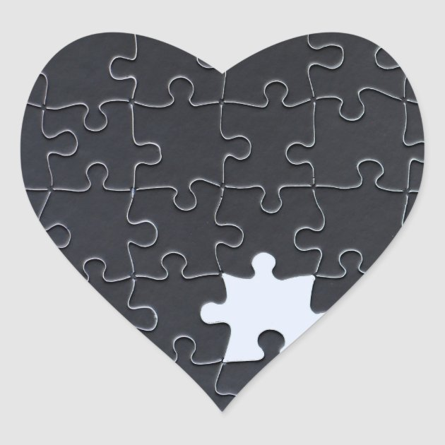 One Missing Puzzle Piece Black And White Heart Sticker