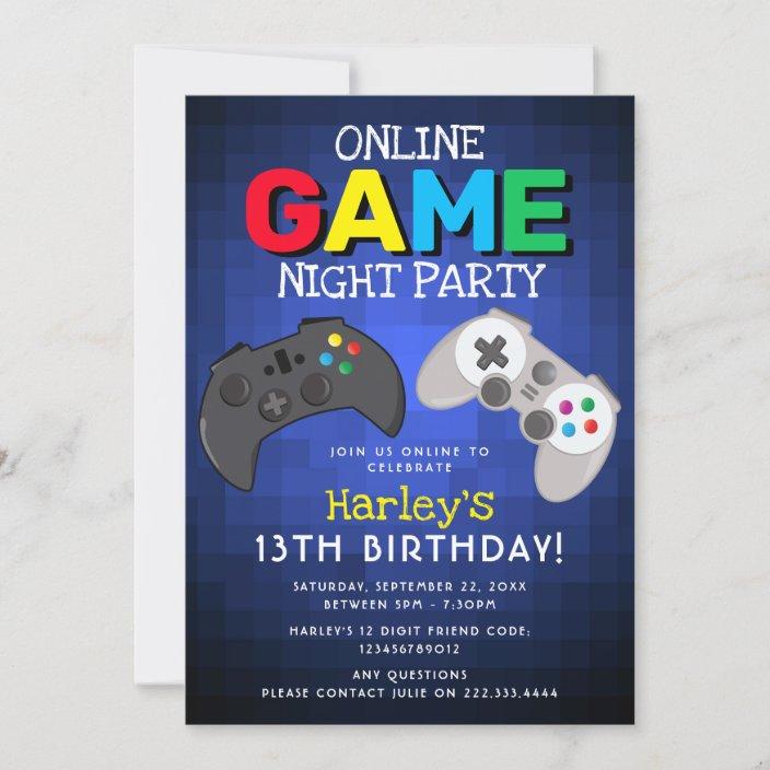 online game party video game birthday invitation zazzle com