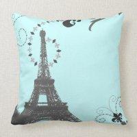 oohlala blue vintage paris eiffel tower pillow | Zazzle