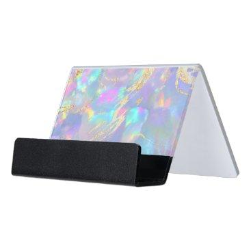 opal holograph effect desk business card holder