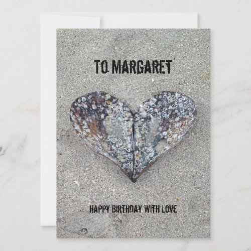 Open Heart Shell Personalized Greeting Card