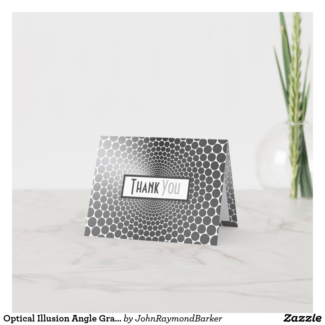 Optical Illusion Angle Gradient NOIR Silver/White Thank You Card