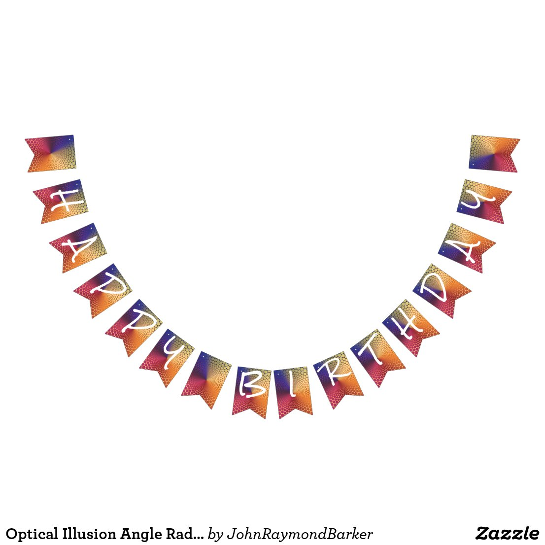 Optical Illusion Angle Radiant Gradient Birthday Bunting Flags
