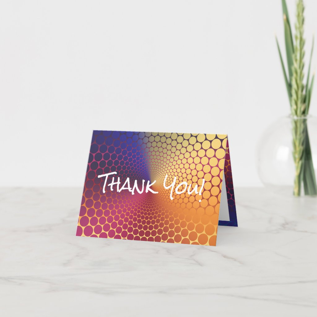 Optical Illusion Angle Radiant Gradient Thank You Card