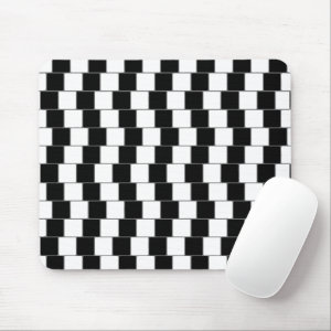 Optical Illusion Lines Squares Black Mouse Pad