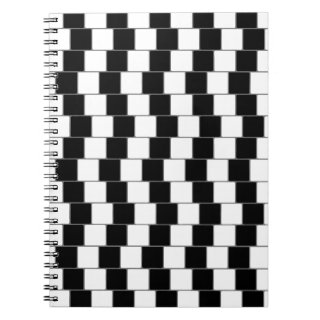 Optical Illusion Lines Squares Black Notebook