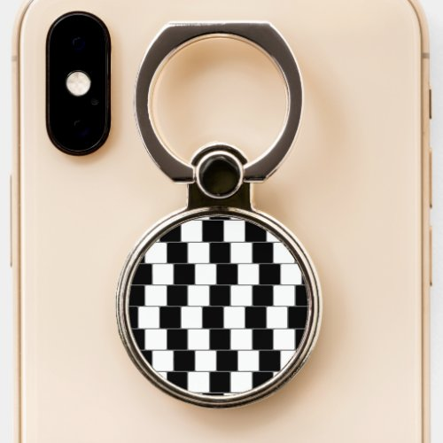 Optical Illusion Lines Squares Black Phone Ring Stand