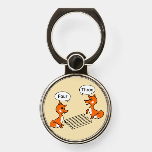 Optical illusion Trick Fox | Beige Phone Ring Stand