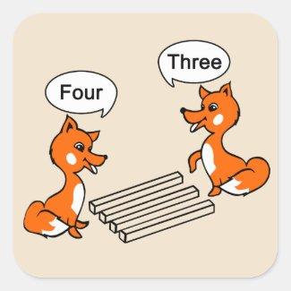 Optical illusion Trick Fox Drawing Square Sticker