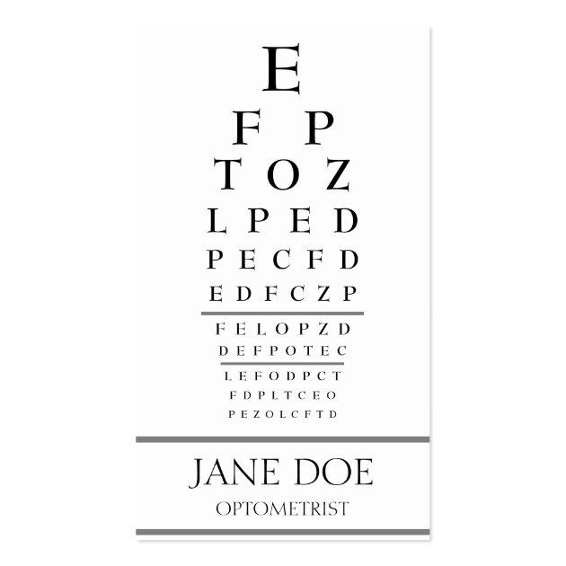 Optometrist Chart Stripes White Business Card