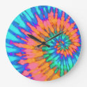 Orange and Blue Spiral Tie Dye Clock