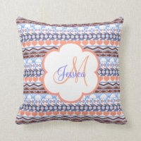 Orange And Blue Striped Pillows - Decorative & Throw ...