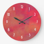 Orange and Red Paint Abstract Background Wallclock