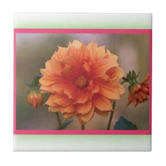 Orange Dahlia Ceramic Tiles