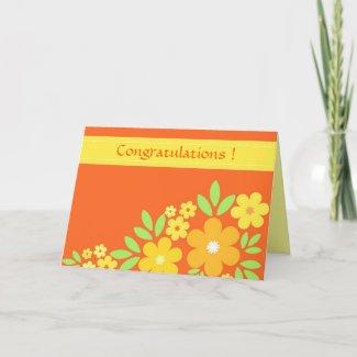 Orange floral - Card