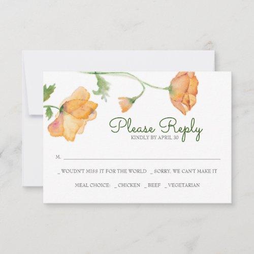 Orange Floral Watercolor RSVP Cards
