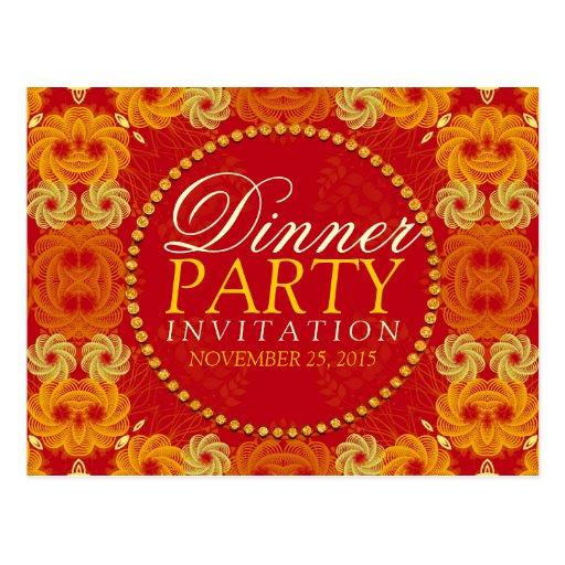 Orange florettes Dinner Party Invite Postcard