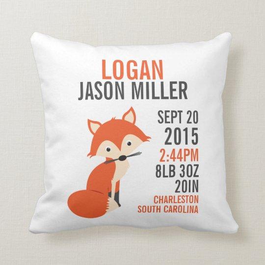 Orange Fox Birth Announcement Nursery Pillow