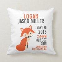 Orange Fox Birth Announcement Nursery Pillow | Zazzle.com