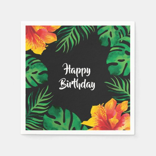 Orange Hibiscus and Tropical Leaves 2 Party Napkin