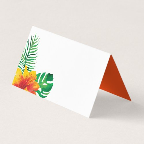 Orange Hibiscus and Tropical Leaves Place Card