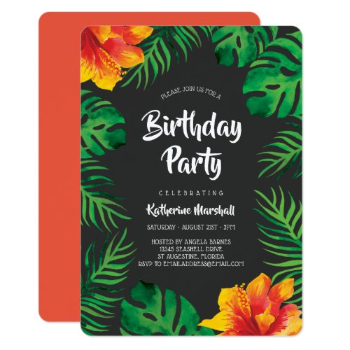 Orange Hibiscus Tropical Leaves Birthday Party 2 Invitation