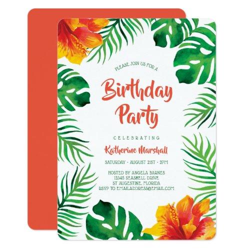 Orange Hibiscus Tropical Leaves Birthday Party Invitation