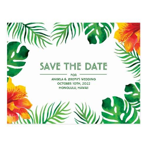 Orange Hibiscus Tropical Save the Date Postcard