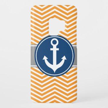 Orange Nautical Anchor Chevron Case-Mate Samsung Galaxy S9 Case
