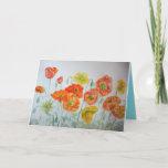 ❤️ Orange Watercolour Poppies Birthday Card