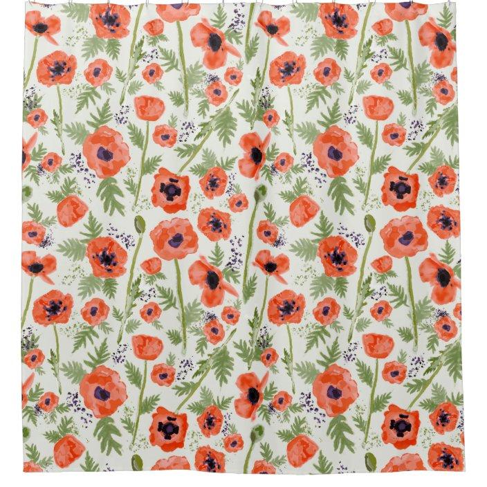 orange red poppy flowers watercolor pattern shower curtain zazzle com