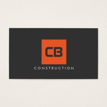 Orange Square Monogram Construction, Electrical Business Card