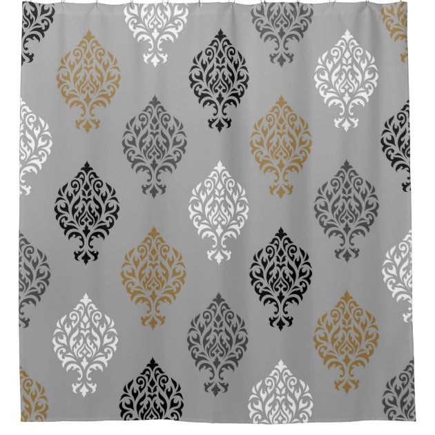 ornamental damask ptn black white grays gold shower curtain zazzle com