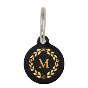 Ornate Golden Leaved Roman Wreath Monogram - Black Pet ID Tags