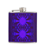 Ornate purple blue abstract hip flasks