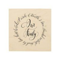 Our Family Wood Wall Art in Calligraphy | Zazzle