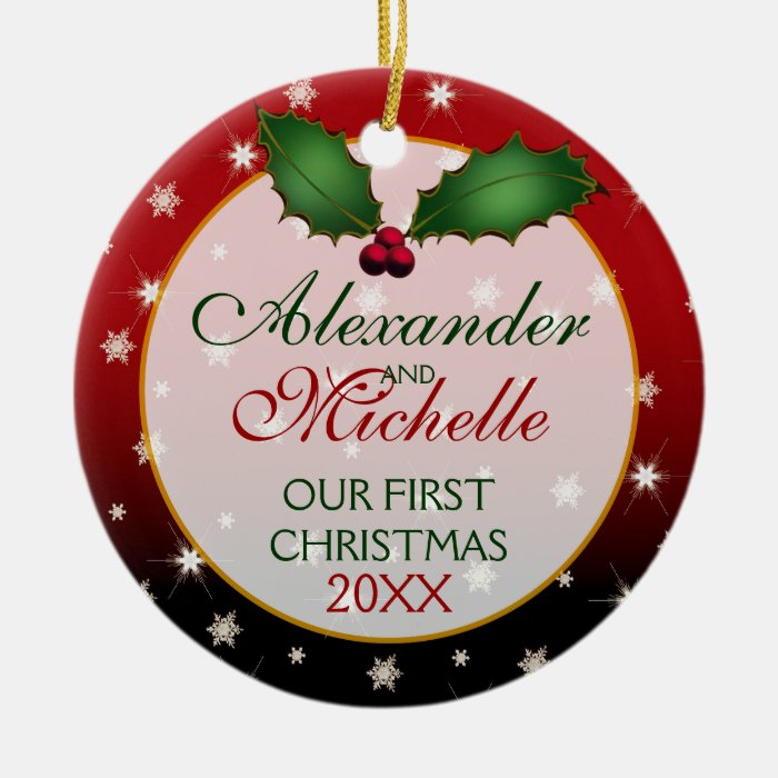 Our First Christmas Wedding Ornament  Zazzle