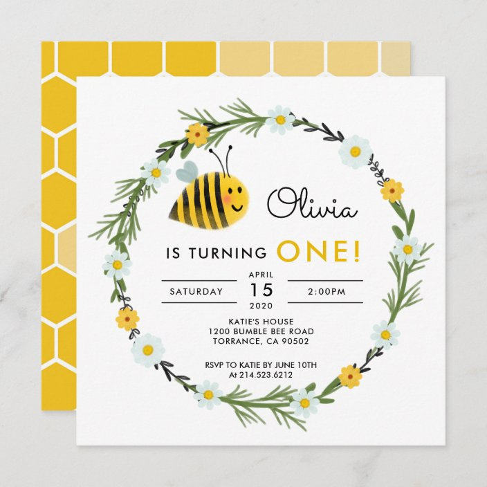 our little honey bee first birthday invitation zazzle com