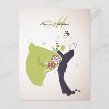 Our Wedding Day - Bride & Groom with Monogram Invitation