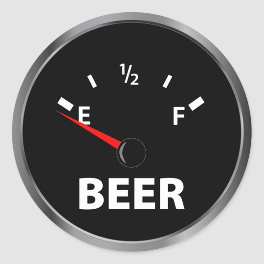Out of Beer Fuel Gauge Classic Round Sticker  Zazzlecom