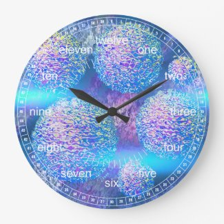Outer Flow III - Abstract Cyan & Azure Galaxy Clocks