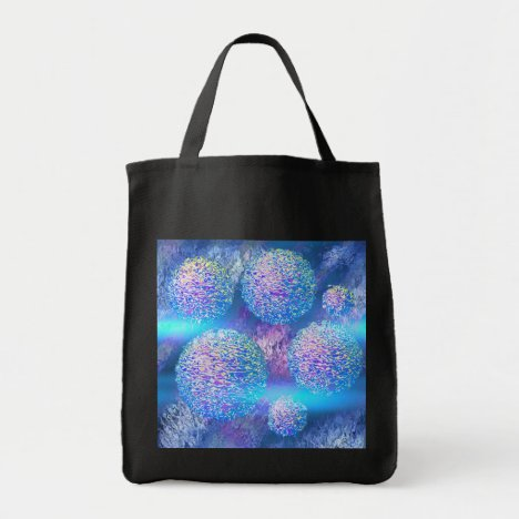 Outer Flow III  Abstract Fractal Cyan Azure Galaxy Tote Bag