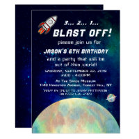Outer Space Birthday Party Card