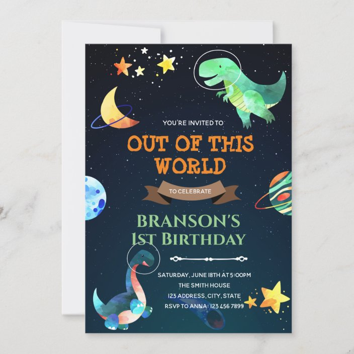 outer space dinosaur birthday theme invitation zazzle com