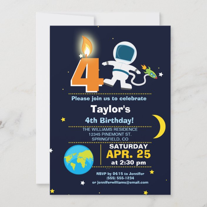 outer space theme birthday party invitation zazzle com