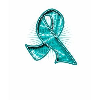 Ovarian Cancer Slogan Watermark Ribbon shirt