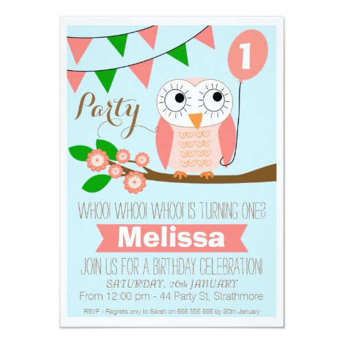 Owl And Balloon 1st Birthday Invitation